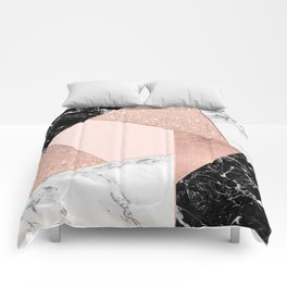 Modern rose gold glitter black white marble geometric color block Comforters