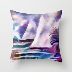 Sailing The Coast Of San Diego by Sherri Of palm Springs/ abstract Throw Pillow