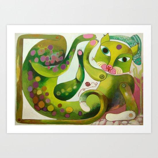 Crazy Sea Cat Art Print