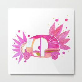 Pink and gold Groovy Rickshaw Metal Print