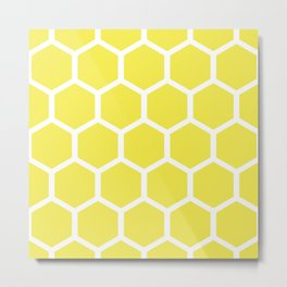 Honeycomb pattern - lemon yellow Metal Print