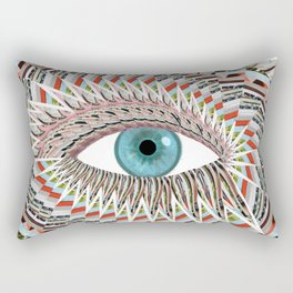 Origami Chakra Eye - Aqua Marine Blue Rectangular Pillow