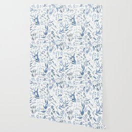 Eucalyptus Pattern - Blue Wallpaper