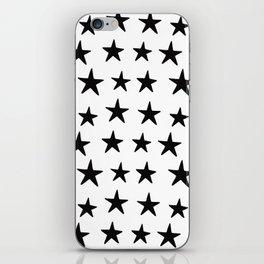 Star Pattern Black On White iPhone Skin
