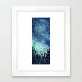 Galaxy Watercolor Aurora Borealis Painting Framed Art Print