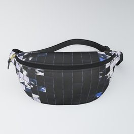 Blue Accent Black And White Square Tiled Ceramic Mosaic Pattern Fanny Pack