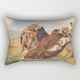 "Eugène Delacroix ""Arabes d'Oran"" Rectangular Pillow"