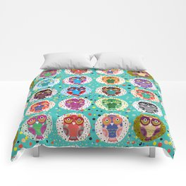 funny colored owls on a turquoise background Comforters