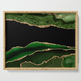 Emerald Marble Glamour Landscapes Serving Tray
