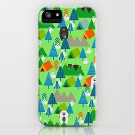 Forest with cute little bunnies and bears iPhone Case