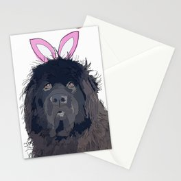 Happy Easter Bunny - Newfie dog Stationery Cards