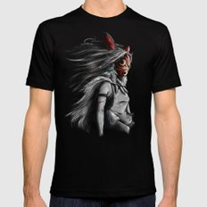 Miyazaki's Mononoke Hime Digital Painting the Wolf Princess Warrior Color Variation Mens Fitted Tee Black LARGE