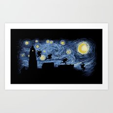 Starry Fight Art Print