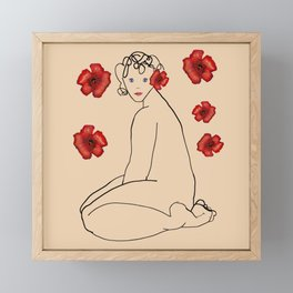 Nude 22 and red flowers Framed Mini Art Print