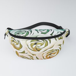 blooming rose pattern texture abstract background in blue and pink Fanny Pack
