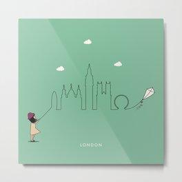London Skyline Kite Metal Print