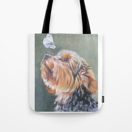 A realistic Yorkshire Terrier Portrait by L.A.Shepard fine art painting Tote Bag