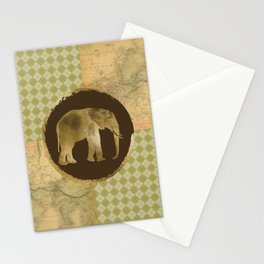African Elephant on Map and Argyle Stationery Cards