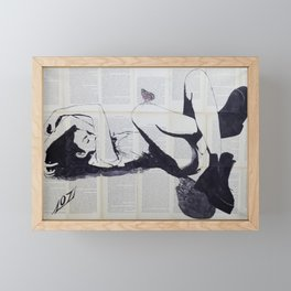 Sleeping girl with butterfly Framed Mini Art Print