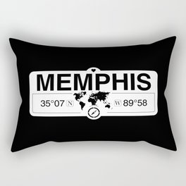 Memphis Tennessee Map GPS Coordinates Artwork with Compass Rectangular Pillow
