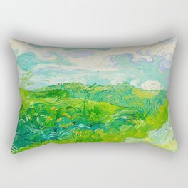 Field with Green Wheat 1890 Oil Painting By Vincent Van Gogh Rectangular Pillow