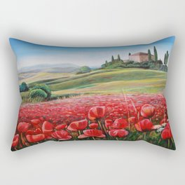 Italian Poppy Field Rectangular Pillow