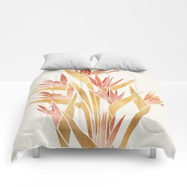 Deco Flowers ~ Metallic Birds of Paradise Comforters