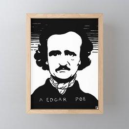 Edgar Allan Poe Portrait by Félix Vallotton - Retro Vintage Woodblock Painting - A Edgar Poe Framed Mini Art Print