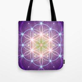 Purple Flower of Life Tote Bag