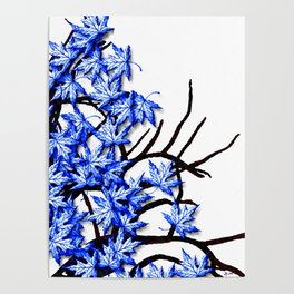 Maple Leaves Blue Poster