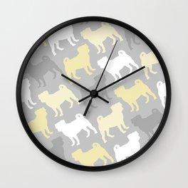 Grey and Yellow Pugs Pattern Wall Clock