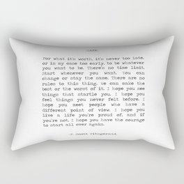Life quote F. Scott Fitzgerald Rectangular Pillow