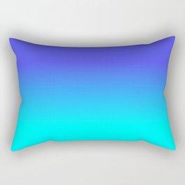 Neon Blue and Bright Neon Aqua Ombré Shade Color Fade Rectangular Pillow
