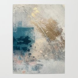 Embrace: a minimal, abstract mixed-media piece in blues and gold with a hint of pink Poster