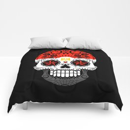 Sugar Skull with Roses and Flag of Egypt Comforters