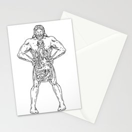 Hercules Hold Bottle Octopus Inside Drawing Black and White Stationery Cards