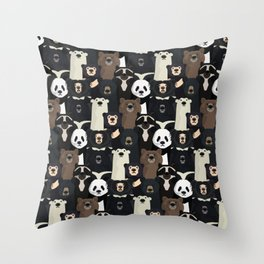 Bears of the world pattern Throw Pillow