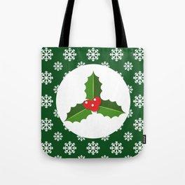 Christmas / Winter Holly Snowflakes Green Tote Bag