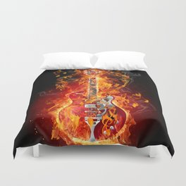 Electric Guitar with Flames and Music Notes Duvet Cover