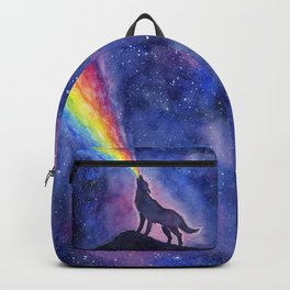 Galaxy Wolf Howling Rainbow Backpack