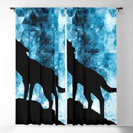 Howling Winter Wolf snowy blue smoke Blackout Curtain