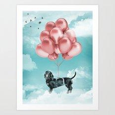 Dachshund Drift Art Print