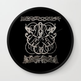 Old norse design - Two Jellinge-style entwined beasts originally carved on a rune stone in Gotland. Wall Clock