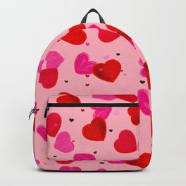 Valentine's Day background with hand drawn pink and red heart background Backpack