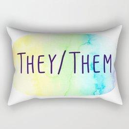 They Them Pronouns (Watercolor Rainbow) Rectangular Pillow