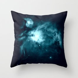 Teal Orion nebula : Hauntingly Beautiful Space Series Throw Pillow