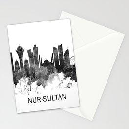 Nur-Sultan Kazakhstan Skyline BW Stationery Cards