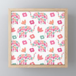 cute colorful abstract pattern background with leaves elephants and flowers Framed Mini Art Print