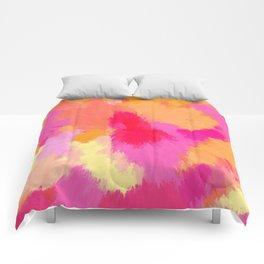 Pink, Orange and Yellow Watercolors Comforters