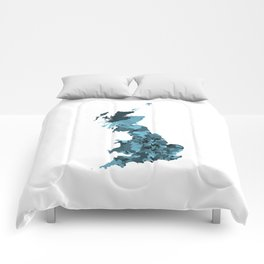 Great Britain Map Print Abstract in Camouflage Marine - A great talking piece for the home! Comforters